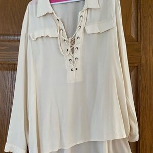 Cream float shirt with lace up front detail